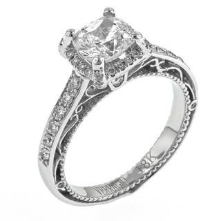 Verragio 18k White Gold 1/3ct TDW Diamond and Cubic Zirconia Halo Engagement Ring (F-G, VS1-VS2)