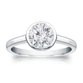 Auriya 14k Gold 1ct TDW Round-cut Diamond Solitaire Bezel Engagement Ring (H-I, VS1-VS2)