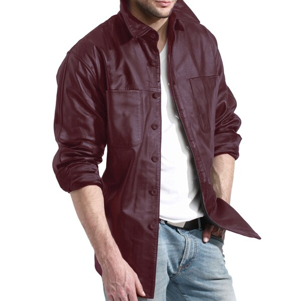 Men's Burgundy Leather Shirt Jacket