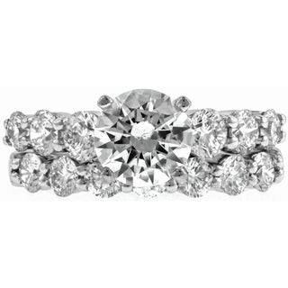 14k White Gold 7/8ct TDW Diamond and Cubic Zirconia Wedding Ring Set (G-H, VS1-VS2)