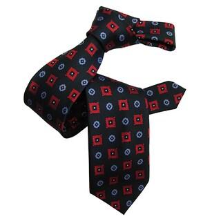 Dmitry Men's Navy Patterned Italian Silk Tie