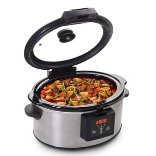 6-Quart Stainless Steel Programmable Slow Cooker with Locking Lid