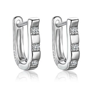 18k White Gold Austrian Crystal 3-stone Hoop Earrings