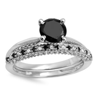 14k White Gold 1 1/2ct TDW Black and White Diamond Solitaire Engagement Ring Band Set (H-I, I1-I2)