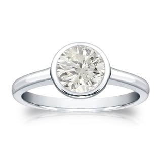 Auriya 14k Gold 1ct TDW Round-Cut Diamond Solitaire Bezel Ring (J-K, SI1-SI2)