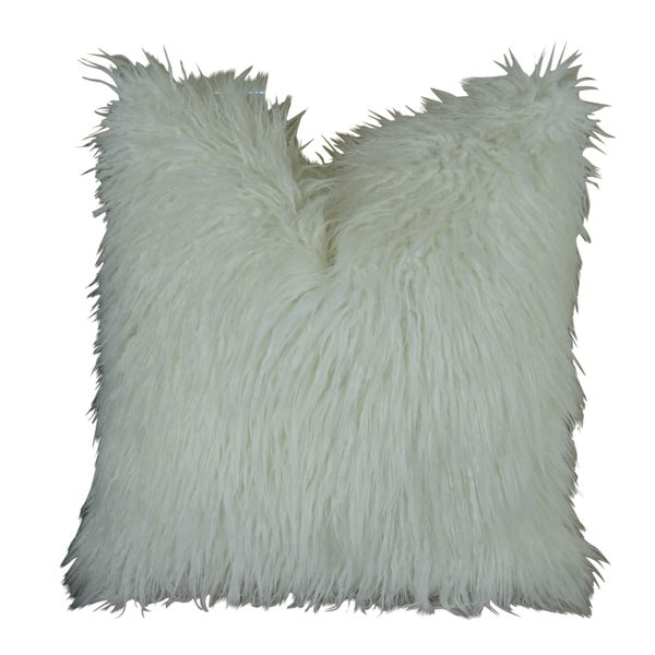Plutus Curly Mongolian Faux Fur White Handmade Double-sided Throw Pillow