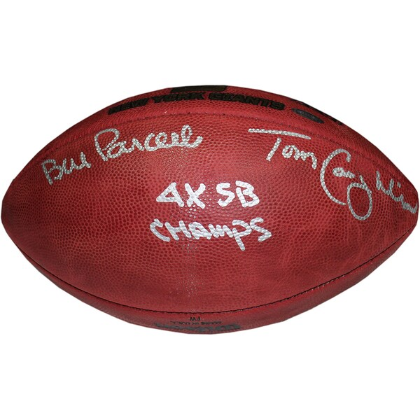 Bill Parcells/Tom Coughlin Dual Signed Special Edition Gold Foil 4 SB Logo Football w/ 4X SB Champs insc