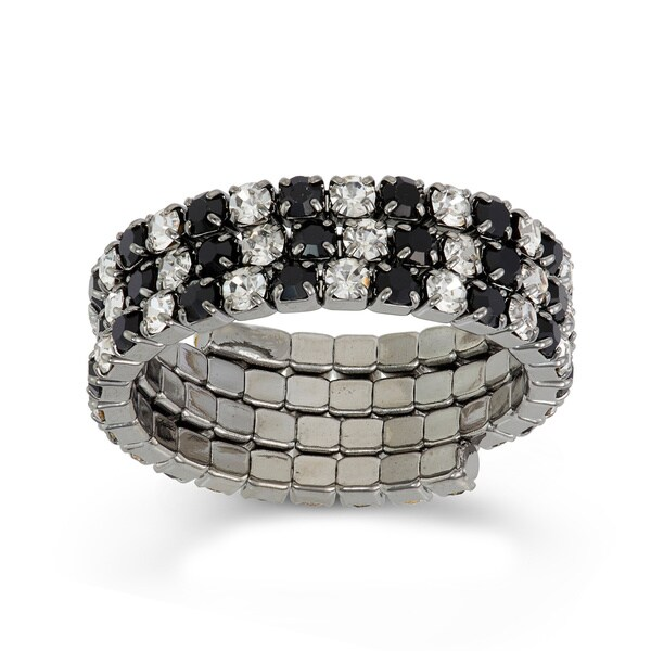 Isla Simone - Black Rhodium Plated Crystal 3-Row Ring