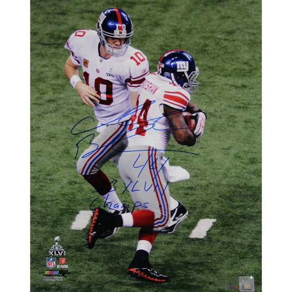 Ahmad Bradshaw Signed Super Bowl XLVI Handoff 16x20 Photo w/ SB XLVI Champs Insc. 17302077