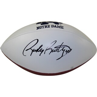 Rudy Ruettiger Signed Notre Dame White Panel Jarden Signature Football (Signed In Black)