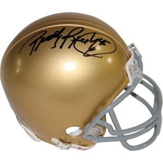 Rudy Ruettiger Signed Notre Dame Mini Helmet (Signed In Black)