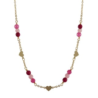 Gold Filled Semi-precious Gemstone and Freshwater Pearl Children's Heart Necklace