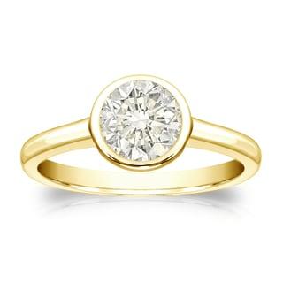 Auriya 14k Gold 3/4ct TDW Round-Cut Diamond Solitaire Bezel Ring (J-K, I1-I2)