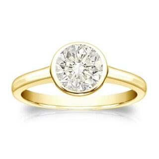 Auriya 14k Gold 1ct TDW Round-Cut Diamond Solitaire Bezel Ring (J-K, I1-I2)