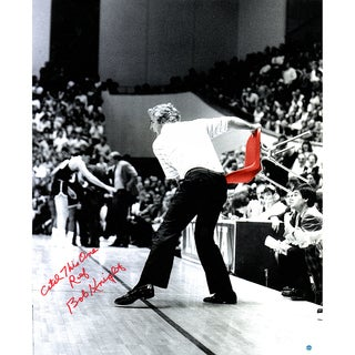 """Bob Knight Signed Throwing Chair Vertical B/W w/ Color Accents 20x24 Photo w/ """"Catch this one Ref"""" Insc. (Signed in Red)"""