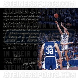 Christian Laettner Signed Game Winning Shot 16x20 Story Photo w/ Score Insc (w/ Limited Edition of 46 on Matte)