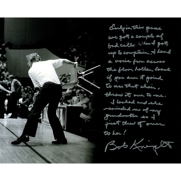 Bob Knight Signed 16x20 Story Photo (Throwing the Chair)