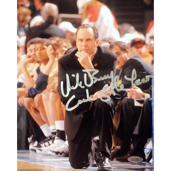 "Mike Brey On His Knees On The Sidelines Signed Vertical 8x10 Photo by Photographer Mitchell Layton w/ ""Coach of the Year"" Insc."