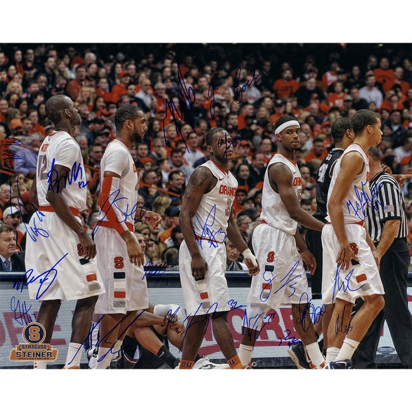 Syracuse Basketball 2011-2012 Season White Jerseys Team Signed Horizontal 16x20 Photo (Missing Trevor Cooney)