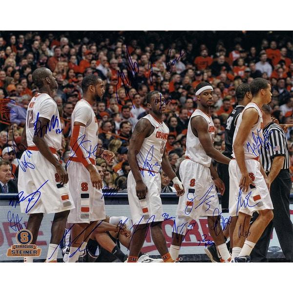 Syracuse Basketball 2011-2012 Season White Jerseys Team Signed Horizontal 16x20 Photo (Missing Trevor Cooney)