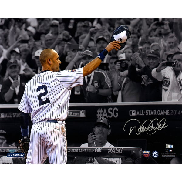Derek Jeter Signed 2014 All Star Game Tip Cap 16X20 Photo Jeter in Color and Background Fans B/W ( MLB Auth)