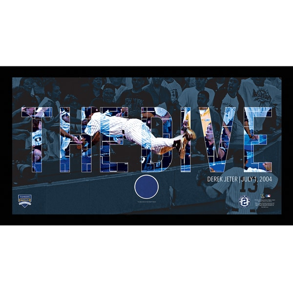 Derek Jeter Moments: The Dive Collage Text Overlay w/ Game Used Wall Panel Framed 9.5x19 7331 Style