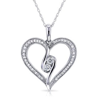 Annello 10k White Gold 1/4ct TDW Diamond Milgrain 2-Stone Heart Pendant (H-I, I2)