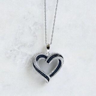 Annello 10k White Gold Blue Diamond Accent Heart Pendant