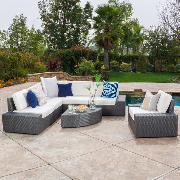 Christopher knight home santa cruz outdoor 7 piece wicker for Belmont 4 piece brown wicker patio chaise lounge set