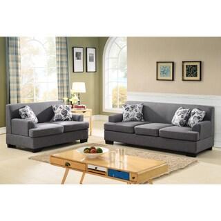 Allen Modern Fabric 2-Piece Sofa and Loveseat Set