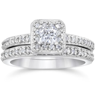 14k White Gold 1 1/4 ct TDW Princess Cut Diamond Halo Engagement Wedding Ring Set (H-I, I1-I2)