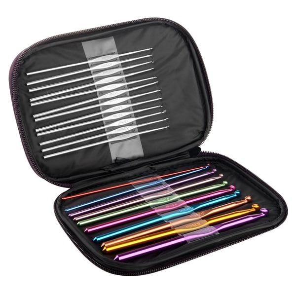 Zodaca Multi-color Aluminum Crochet Hooks Needles Set with Carrying Case (Pack of 22)