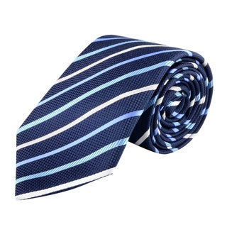 Zodaca Men's Blue and White Polyester Stripped Men Classic Formal Necktie