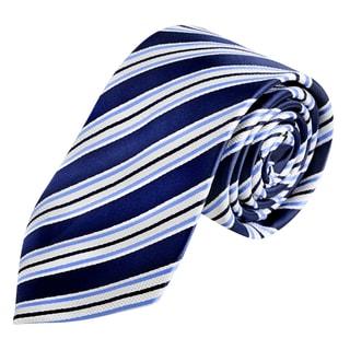 Zodaca Men's Dark Blue and White Polyester Stripped Men Formal Classic Necktie