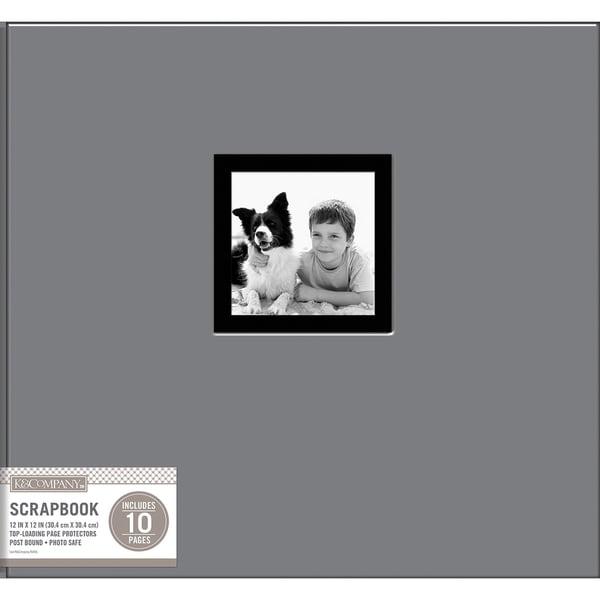 K&Company Fabric Post Bound Window Album 12inX12in Gray