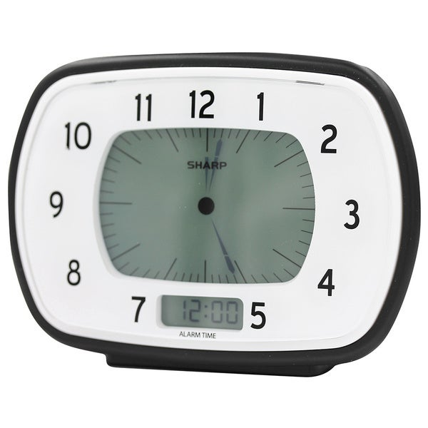 Sharp Black and White Retro Digital Analog Alarm Clock