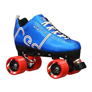 Labeda Voodoo U3 Quad Customized Blue Roller Speed Skates with Red Dart Wheels