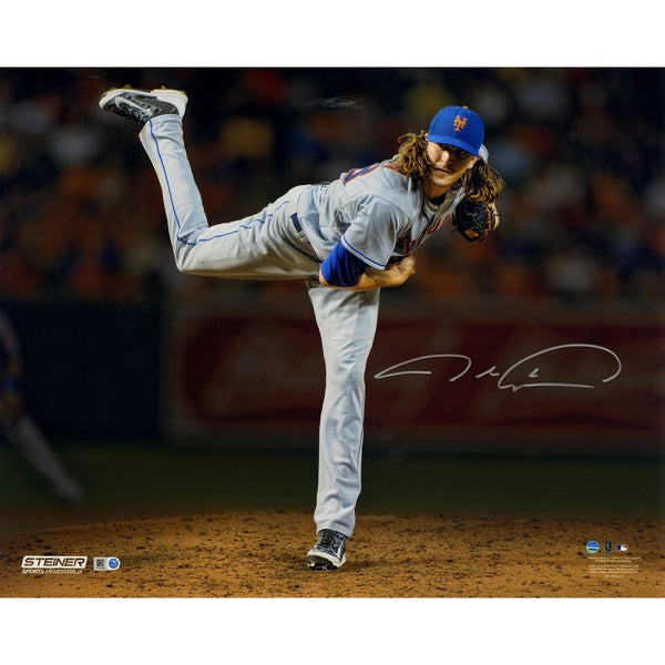 Jacob deGrom Signed Follow Through 16x20 Metallic Photo