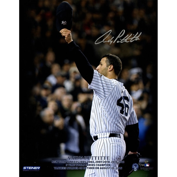 Andy Pettite Signed Pettitte Retirement Logo Tipping Cap 16x20 Photo (LE/46)