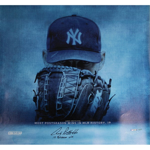"Andy Pettitte Signed 19 Postseason Wins 36x36 Canvas w/ ""19 Postseason Wins"" Insc."