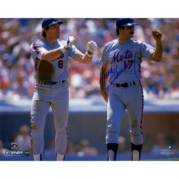 Keith Hernandez Signed with Gary Carter Mets Road Uniform 8x10 Photo