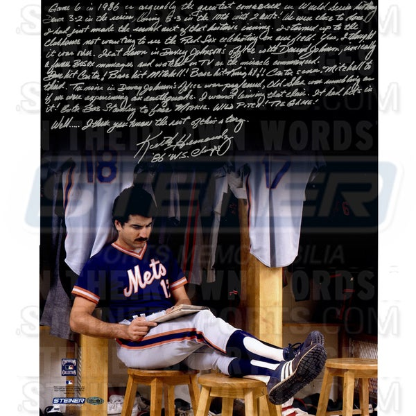"""Keith Hernandez Signed Completing Crossword Puzzle in Locker Room 16x20 Story Photo w/""""86 W.S Champs""""Insc. 17307378"""