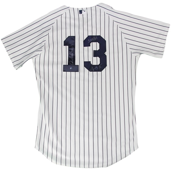 "Alex Rodriguez Signed in Silver New York Yankees Home Authentic Jersey w/ ""3,000th Hit, 6/19/15"" Insc."