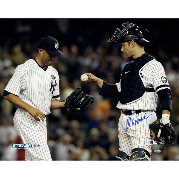 Jorge Posada Dropping Ball into Mariano Rivera's Glove Single Signed 16x20 Photo (MLB Auth)