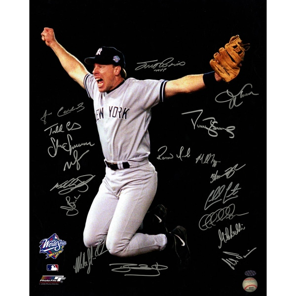 1998 New York Yankees Multi-Signed 16x20 Photo (18 Signatures) ( Leaf Holo Only & Athlon Cert)