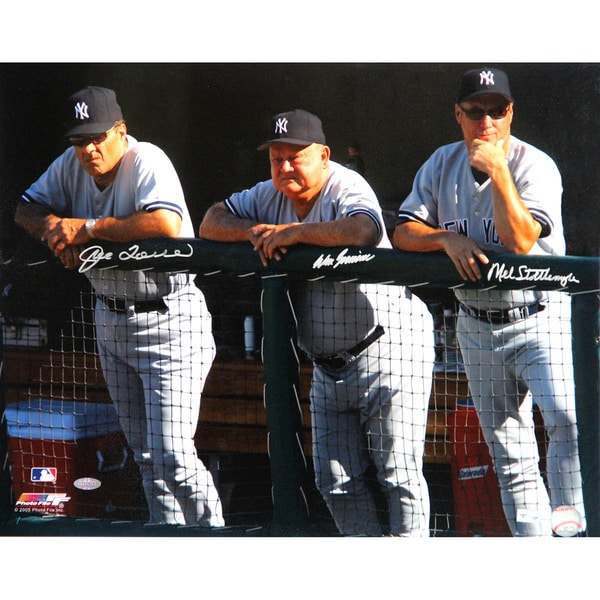 Joe Torre, Don Zimmer and Mel Stottlemyre Triple Signed Dugout 16x20 Photo (MLB Auth)