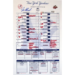 Joe Girardi 2008 Yankees Final Game Replica Line Up Card