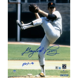 """Gaylord Perry Signed Giants Pitching w/ HOF"""" Insc. (MLB Auth)"""