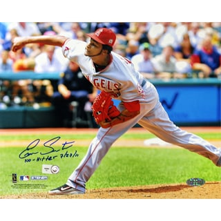 "Ervin Santana Angels Road Jersey Pitching Horizontal 8x10 Photo w/"" No Hitter, 7/27/11"" Insc (MLB Auth)"
