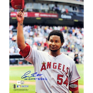 """Ervin Santana Angels Road Jersey Salute To The Crowd Vertical 8x10 Photo w/"""" No Hitter, 7/27/11"""" Insc (MLB Auth)"""